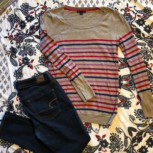Gap, love sleeve, striped shirt.